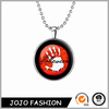 Halloween promotional gift bloody hand necklace, glow in the dark necklace/