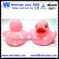 Pink rubber duck print white hearts logo bulk promotion duck