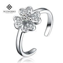 Wholesale Clover sterling silver 925 price rings with clear zircon