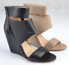 sexy high heel genuine leather women shoes wedge sandals 2015