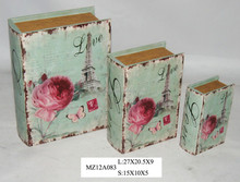 Elegant pink flowers and butterfly on blue style upright wooden book box