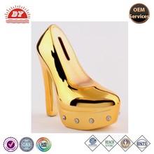 OEM cheap gold high heel shoes coin bank, high heel shoes money box