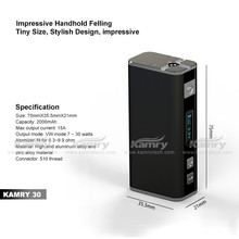 High quality cheap e-cig mod kamry 30w ecig box mod mini size 0.3ohm resistance box mod