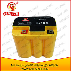 Manufacture offer MF Spiral Cell Motorcycle 12V 9.0ah Battery Type 6-SWB-9 Yellow