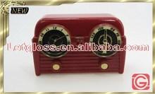 Polished zinc alloy Vintage Radio travel Clock