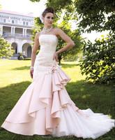 OEM pink puff long train backless ball gown wedding dress