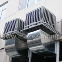 Plastic workshop industrial window wall rooftop evaporative cooling fan system