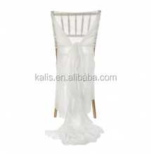 Chiffon Curly Willow/Hot sale wholesale custom made fancy organza ruffled curly wedding chair covers