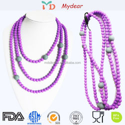 baby silicone teething beads necklace / silicone necklace teething Factory Direct Sale Silicone Beads Necklace for Kids