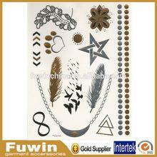 Jewelry inspired waterproof sticker adhesive Custom metallic henna tattoo kit