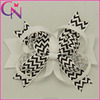 Wholesale Little Girl Hair Accessories, 5 inch Black Wave Stripe Multilooped Bows for Hair