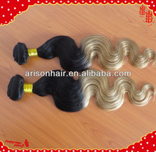 Wholesale Body wave brazilian colored two tone hair weave cheap ombre hair extension