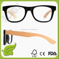 2016 NEW design black Buffalo Horn Eyeglasses frames with wood legs,engraved logo by free LS4906-C1