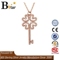 wholesale 925 silver scalar energy pendant, Key pendant, rose gold pendant