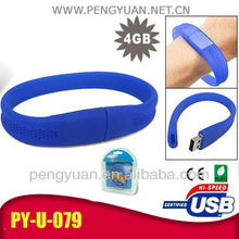 Top gifts Silicone bracelet USB pen drive for promotion (PY-U-074)