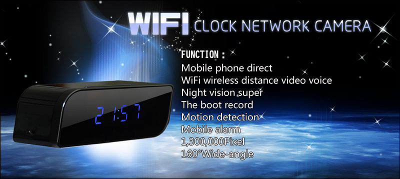 32GB Night Vision Motion Detect Clock Hidden Camera WiFi IP Camera with 1280*720p resolution