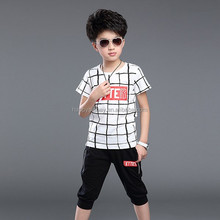 hot sale super comfortable boys clothing set children suit checked t-shirt