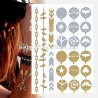 Lamination Temporary Body Custom Fashion Design Tattoo Sticker Metallic Temporary Tattoo Paper Jewelry Fashion Design