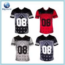 Bandana Paisley Fauc Leather Chest Men's V-Neck T-Shirt/Dye Sublimation T-Shirt/Custom T-Shirt