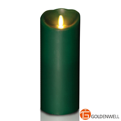 Moving Flame Forest Green Natural Candle Supply Remote Ready