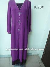 con cuentas kaftan gasa vestido para las mujeres