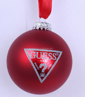 Fashionable excellent quality glass logo bauble