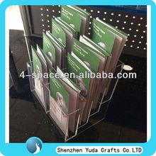 clear acrylic leaflet magazine brochure display rack with 8 pockets