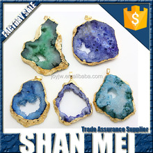 NEW Geode Druzy Pendant - Dark Blue Drussy Crystal Geode - Druzy Geode Beautiful Electroplated in Gold / Silver