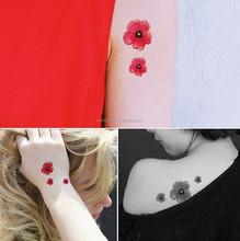 2 folhas pequena flor rosa projeto tatuagem temporária adesivos transferência do tatuagem do corpo
