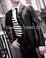 2015 new fashion handsome black latex Men's jacket fetish rubber coat gummi 0.4mm with long sleeves plus size hot sale