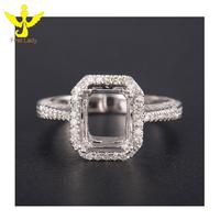 Genuine Semi Mount 14K Solid White Gold 0.184ct Diamond Rings