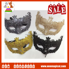 Factory wholesale halloween gold dust masks Plastic dancing party mask Christmas masks