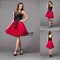 New fashion ladies formal knee length satin butterfly design dress black and red evening dress designs for young girls