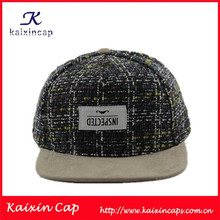 OEM 2015 New Style Knitted Crown Snapback Hat/ Cap Wholesale With Metal Closure ,Patch Logo And Leather Flat Brim
