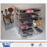 Clear Acrylic Makeup Organizers Clear Cube Storage 6 Drawers with handle