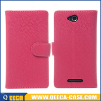 Genuine leather mobile phone case flip cover for sony xperia c s39h c2305