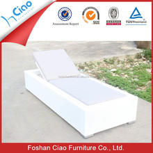 Synthetic rattan furniture white patio sunbed low rice