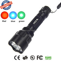 Wholesale C8 LED Flashlight Blue + Red + Green Night Vision Light Torch led torch flashlight torch light