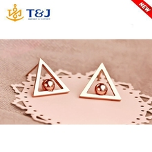 Latest fashion creative fancy allergy triangle shape stainless steel unique stud earrings pack