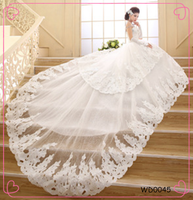 2014 new product Long trailing strapless lace with the tail fashion wedding dress