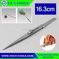 V-16 Adjustable Straight Tweezers (Silver), 11cm stainless steel tweezers