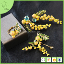 2016 New Arrival Yellow Color Brass Enamel Jewellery Set