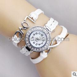 women dress watch/ Girl Love Wrap Around Synthetic Leather Bracelet/ Quartz Wrist Watch For Women