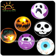 China Factory Wholesale Round Shaped Led Flashing Light Up Badge for Halloween