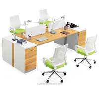 modern design veneer wooden 4 seats office table and desks used for office computer desks