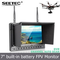 7 inch powered battery lcd fpv monitor hdmi av interface inside 32ch 5.8ghz rc transmitter and receiver with plastic sunshade