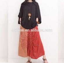 verano 2014 original de la marca tendencia nacional con apliques de flores largas faldas para las mujeres con los bolsillos