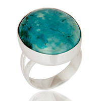 Natural Turquoise Gemstone Ring Jewelry, Best Selling Fine Silver High Polish Ring