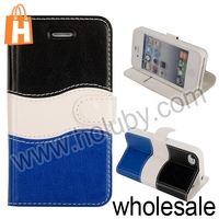 For iPhone 4 4S Waves Shape Case, Multi-color Case For iPhone 4 Leather Case, For iPhone 4S Flip Case