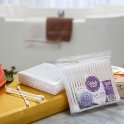 100pcs in zip-locked pp bag plastic stick cosmetic pure cotton buds swabs q-tips